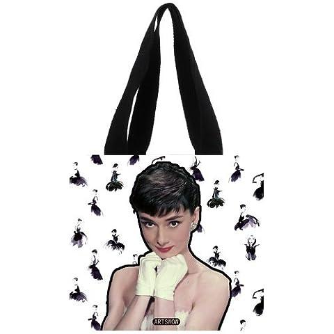 Artswow Audrey Hepburn Custom Eco reutilizable lienzo bolsa para bolsas de la compra (2lados), lona, multicolor11, 12.2
