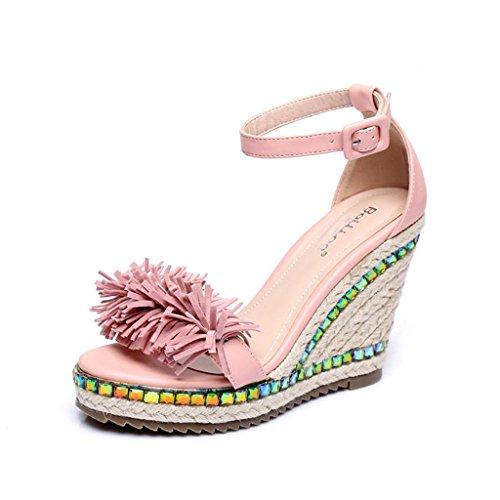 BaiLing Damen Sommer Sandalen / Wedge Ferse handgefertigte gestrickte Stroh wasserdicht / dicke Boden / Quaste kleine Größe Schuhe Pink