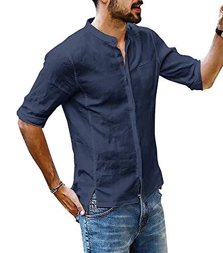 Hemd Herren Leinenhemd Freizeithemd Langarm Männer Sommer Henley Hemd Casual Regular Fit Shirts(NA,2XL) (Langarm-herren-arbeitshemd)