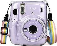 O Ozone Transparent Hard Camera Case for Fujifilm Instax Mini 11 Instant Camera Cover with Adjustable Strap [