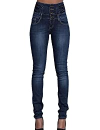 ab447ceca4 Kasen Mujer Pantalones Vaquero Skinny Push Up Pantalones Elástico Jeans  Cintura Alta