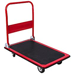 Home Discount Platform Hand Trolley Folding Truck Cart Heavy Duty Flat Bed Transport, Black & Red