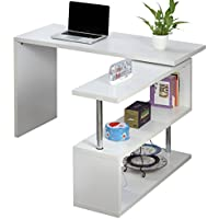 Voilamart Office Computer Desk L-Shaped Wood Corner Desk Large PC Table Laptop Matt Desk with Storage Display Shelf Shelving for Home Office Use, White