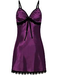 Lenfesh Camisón para Mujer Suave Lencería de Dormir Sexy Mujer Talla Grande Camisola con Tirantes Ropa Interior Encaje de Dormir