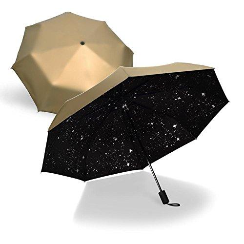 JAYLONG Sombrilla de viaje 8 costillas Starry Sky Stars Construcción de acero inoxidable resistente Construcción rápida Secado impermeable paraguas para mujeres, hombres, niños y niños, B