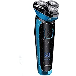 Rasoir Electriques Hommes Rechargeable Etanche Wet&Dry Rasoir Electrique 3D Têtes Rotatives Tondeuse barbe avec écran LCD, Verrouillage de Voyage