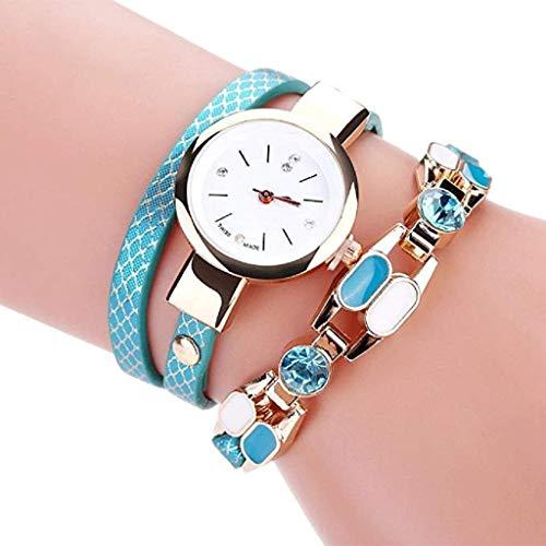 Fashion Armbanduhr, KEATTL Heißer Uhr, Frauen Mode Diamant Kreis Tabelle Quarz Uhr Lederarmband (Himmelblau)