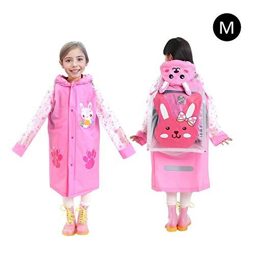 PVC Kinder Rucksack Regenmantel, Kinder umweltfreundlich Regenmantel Aufblasbare Kappe Krempe mit Tasche Halter Modische Weiseponcho