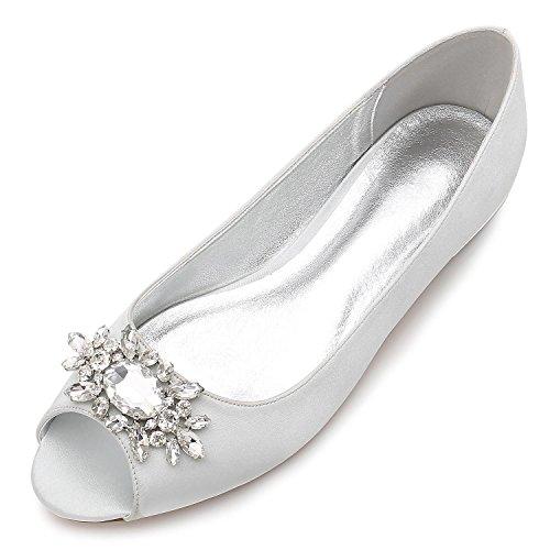 L@YC Frauen Hochzeit Schuhe F5049-30 Strass Hochzeit Brautschuhe, silver, 40