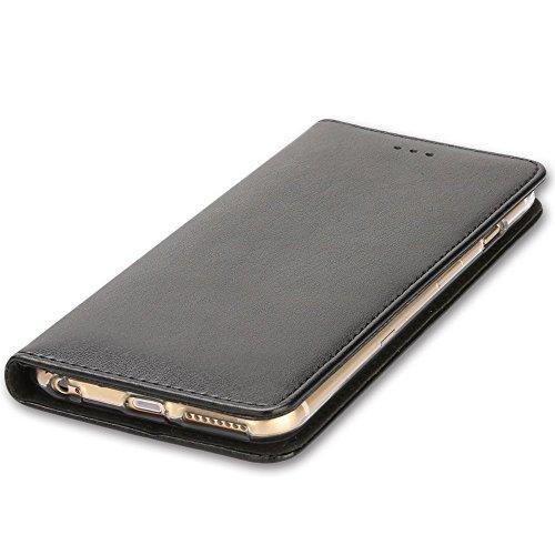 Étuis de portefeuille iPhone Cross Pattern pour iPhone SE 5S 5/6 / 6S / 6Plus / 6S Plus / iPhone 7 / iPhone 7 Plus (Xperia XZ/XZs, BK/BR(Cross)) Black/E