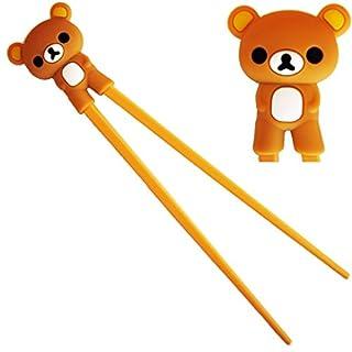 ANKKO Schöne Panda Kunststoff Essstäbchen mit Silikon-Guide Training Connector Aids (Brown-Bear)
