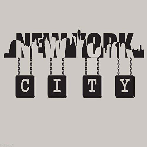 WWYJN New York City Skyline Wall Quote Vinyl Decal Wall Art Vinyl Sticker Decals Mural New York Silhouette Wall Mural - Removable77x49cm - City Queen-bett