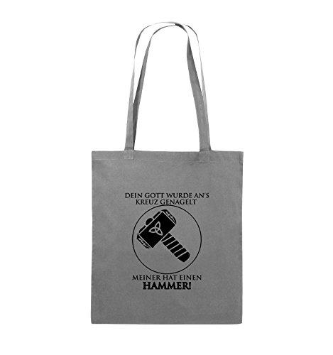 Comedy Bags - DEIN GOTT KREUZ - MEINER HAMMER - Jutebeutel - lange Henkel - 38x42cm - Farbe: Schwarz / Silber Dunkelgrau / Schwarz