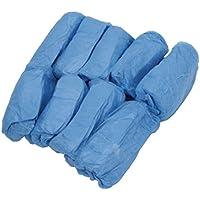 Wiwi.f 100 Paquetes Cubierta de Zapato De Plástico Desechable Unisex Cubierta De Zapato Sanitario Impermeable Azul
