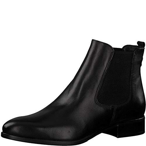 Tamaris Damen Stiefeletten 75388-23, Frauen Chelsea Boots, feminin elegant Women's Women Woman Freizeit leger Stiefel,Black Leather,40 EU / 6.5 UK