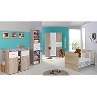 Babyzimmer / Kinderzimmer Komplett Set ELISA 4 In Eiche Sonoma Weiß,  Komplettset Mit Grossem 3