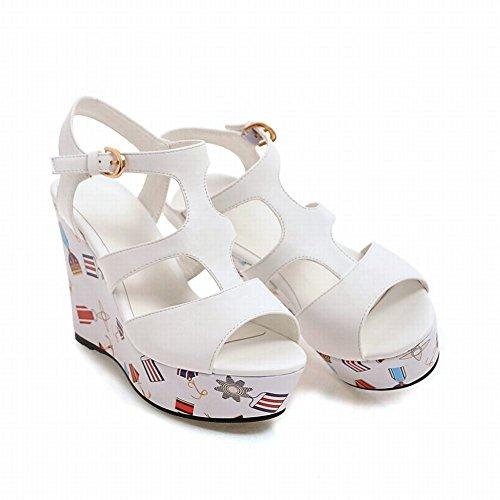 Senhora Brancas Mee Slingback Toe De Sapatos Planalto Peep Fivela Sandálias z7f7Zxw