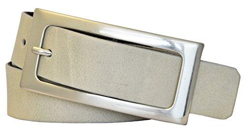 Vanzetti Damen Leder Gürtel Vollrindleder Damengürtel hellgrau 30mm Ledergürtel (100 cm)