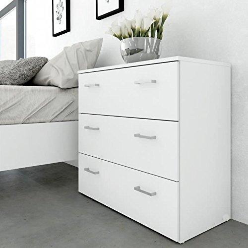 Meilleure offre de prix SPACE Commode 3 tiroirs 74 cm – Blanc