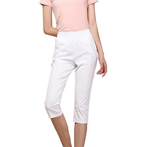 Dexinx Damenmode Dünne Außenüber Knie Shorts Sommer Normallack-weiche Elastische Taillen Heiß Hose Weiß 3XL (Das Leben Ist Gut Lounge-hose)