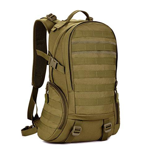 Ges 35l impermeabile borsa a tracolla mens tattica daypack militare molla zaino borsa scuola studente assault pack zaino per escursioni all'aperto caccia camping trekking travel (marrone)