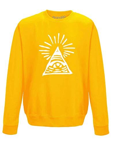 Illuminati Drawing, Erwachsene Gedrucktes Sweatshirt - Gold/Weiß L = 112cm