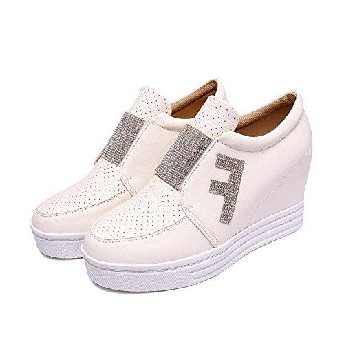 VogueZone009 Femme Pu Cuir à Talon Haut Rond Mosaïque Tire Chaussures Légeres Blanc