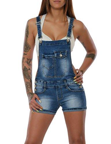 1b57b9cc07d1e7 Damen Latz-Jeans Latz-Shorts Latzhose Kurze Hose Hot-Pants Jumpsuit Overall  No