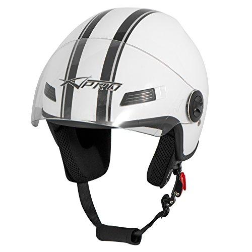 Casco-Jet-Scooter-Moto-Quad-Omologato-ECE-22-05-Visiera-Bianco-2XL