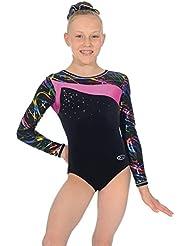 """Justaucorps de gymnastique multicolore en velours et lycra à manches longues """"Macy"""""""