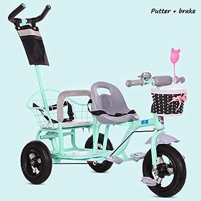 BABY STROLLER ZLMI Doble Cochecito luz Triciclo Bicicleta de Dos Pasos Ajuste de Asiento Libre neumáticos neumático 1-6 años de Edad