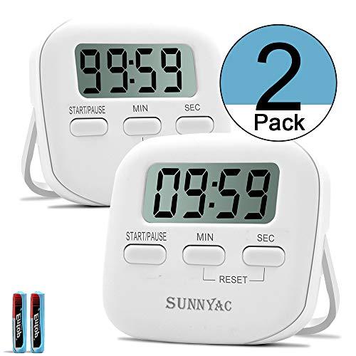 Sunnyac Digitaler Küchen-Timer, kleine magnetische Timer mit LCD-Display und Ständer, Minuten-Sekunden-Countdown-Timer mit lautem Alarm, visuelle Stoppuhr für Kochen, Sport, Hausaufgabe, weiß weiß