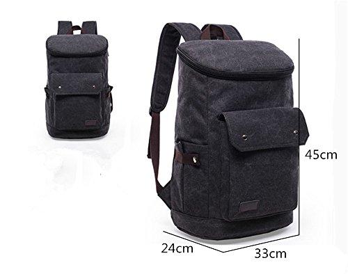Herren-Schulter Tasche Rucksack Outdoor-Sportarten lässig Leinwand große Kapazität Bergsteigen Tasche einfarbig Black