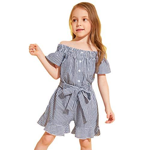 alls, Kinder Mädchen Rüschen Ärmel Schulterfrei Gestreifte Print Strampler Body Outfits Kleidung 18 Monate - 6 Jahre ()