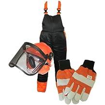 MSL - Kit de protección para motosierra (incluye pantalones y pechera XL, guantes grandes y casco)
