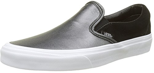 Vans Damen Classic Slip-On Seasonal Leather Sneaker, Mehrfarbig (2-Tone Metallic/Black/True White), 42 EU (Damen Schuh Leder Slip-on)