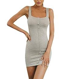 ad899dc40c5 Balock Femmes Lady Sexy Off épaule Mini Robe sans Manches Slip Elégant Mini  Droite Robe Mini Robe Dos Nu Femmes Sexy Slim Soirée…