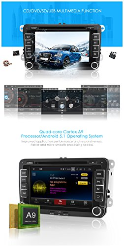 Pumpkin Android 5.1 Double Din Car Stereo 7 inch Auto Radio Support GPS, DAB+, Phone Link, DVD CD Player, Bluetooth, AM FM RDS, SWC, USB SD, Subwoofer, 3G Wifi, AV Output for VW Golf Jetta Passat Polo Seat Skoda EOS