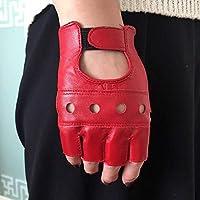 SHOUtao - Guantes de Medio Dedo para Hombre y Mujer, Guantes de equitación al Aire Libre, Guantes Antideslizantes, Color Medio Dedo Mujeres Rojo, tamaño Talla única