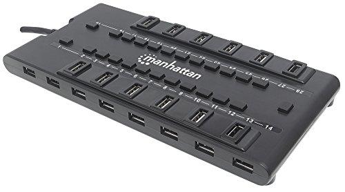 Manhattan 163606 MondoHub v2 28 Ports (24x USB 2.0, 4X USB 3.0) Smart Power Management, Stromversorgung über Netzteil schwarz