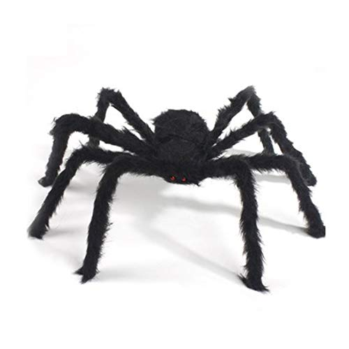 HoganeyVan 2019 Newest Black Spider Tricky Toy Imitated Stuffed Toys Haunted House Props Halloween Decoration Black Spider Plush Toy with Red Eyes