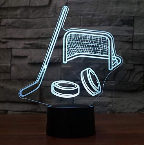 Joplc Hockey 3D Nachtlicht USB LED Tischlampe 3D Illusion Lampe für Kinder Kinder Schlafzimmer Atmosphäre Lampe (Ideen Hockey Halloween)
