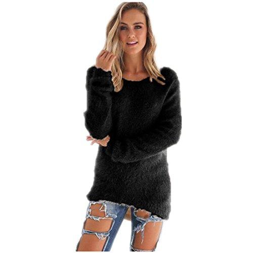 Schwarz Lange Ärmel Pullover Pullover (FORH Damen Mode O-Hals Einfarbig warm weich Lange Ärmel Pullover Pullover Bluse (Größe:S/M/L/XL/2XL/3XL)) (S, Schwarz))