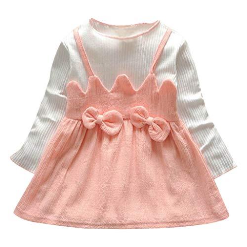 SOMESUN Baby Mädchen Mini Kleid Fliege Gestrickt Baumwolle Lange Ärmel Prinzessin Rock Kinder Modisch Frühling Sommer Süß Täglich Weich Atmungsaktiv Freizeitkleid