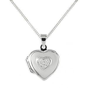 Anhänger Medaillon Herz 925 Silber Herzform zum öffnen 3 Zirkonia mit Kette