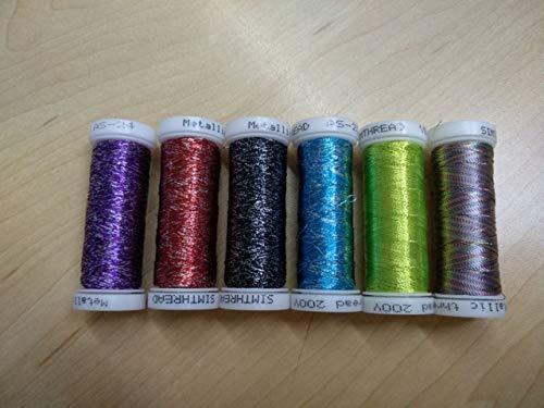 Cushy Set # 2 angezeigt metallische Stickmaschine Fadenspule Faden 6 Farben eingestellt: Set 3 mit 6 Farben