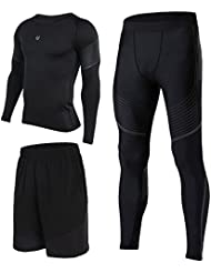 2017 Vansydical Hommes Compresseur Running Base Layer Longsleeves Collants Chemise & Sports Pantalon & Compression Leggings Workout Bodybuilding Breathable Sportswear