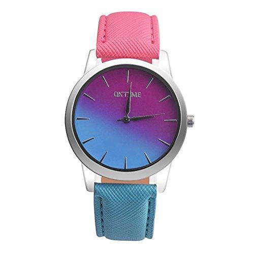 Damen Mädchen Uhren Retro Regenbogen Design Lederband Analog Legierung Quarz Armbanduhr (E)