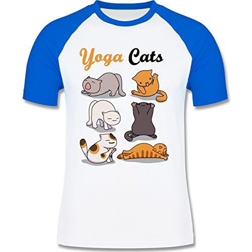 Shirtracer Statement Shirts - Yoga Cats - Herren Baseball Shirt Weiß/Royalblau