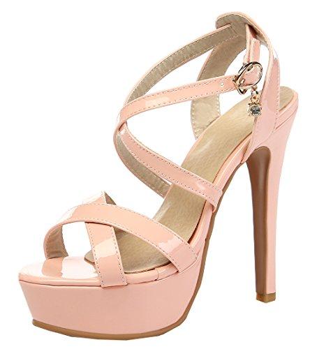 YE Damen Peep Toe High Heel 13cm Heels Plateau Stiletto Lack Leder Knöchelriemen Pumps Mit Schnalle Sommer Fashion Elegante Party Sandalen Schuhe Rosa